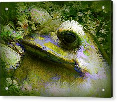 Acrylic Print featuring the photograph Frog In The Pond by Lori Seaman