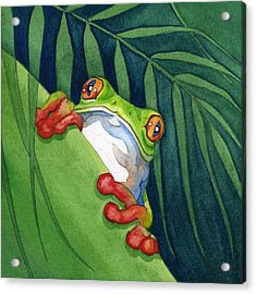 Frog On The Look Out Acrylic Print by Lyse Anthony