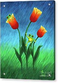 Froggy Tulips Acrylic Print