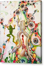 Frogs In The Eyeball Swamp Acrylic Print by Douglas Fromm