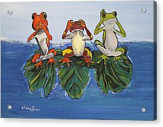 Frogs Without Sense Acrylic Print by Debbie Levene
