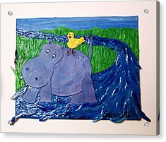 Frolic With Hippo And Bird Acrylic Print by Sarah Swift