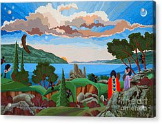 Acrylic Print featuring the painting From A High Place, Troubles Remain Small by Chholing Taha
