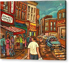From Schwartz's To Warshaws To The  Main Steakhouse Montreal's Famous Landmarks By Carole Spandau  Acrylic Print