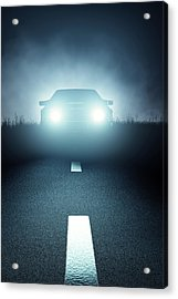 Front Car Lights At Night On Open Road Acrylic Print