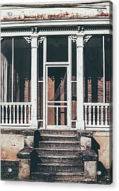 Acrylic Print featuring the photograph Front Door Of Abandoned Building by Kim Hojnacki
