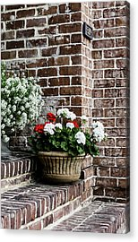 Acrylic Print featuring the photograph Front Porch With Flower Pots by Kim Hojnacki