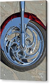 Front Wheel Of Harley-davidson Chopper Acrylic Print by George Atsametakis