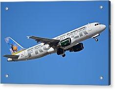 Frontier Airbus A320-214 N213fr Montana The Elk Phoenix Sky Harbor January 12 2015 Acrylic Print by Brian Lockett