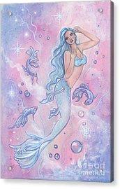 Frosty Betta Mermaid Acrylic Print by Renee Lavoie