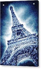 Frosty Eiffeltower In Snow Flurry - Graphic Art Acrylic Print