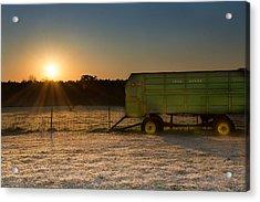 Frosty John Deere Sunrise Acrylic Print