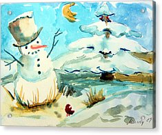 Frosty The Snow Man Acrylic Print by Mindy Newman