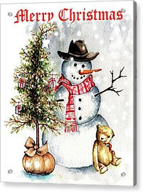 Frosty The Snowman Greeting Card Acrylic Print by Heidi Kriel