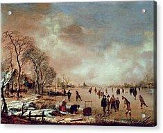 Frozen Canal Scene  Acrylic Print