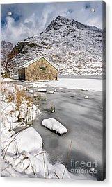 Frozen Lake Snowdonia Acrylic Print