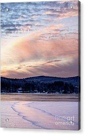 Frozen Lake Sunset In Wilton Maine  -78096-78097 Acrylic Print