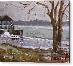 Frozen Niagara River Acrylic Print by Ylli Haruni