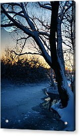 Frozen River Acrylic Print by  Jaroslaw Grudzinski