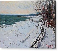 Frozen Shore In Oakville On Acrylic Print by Ylli Haruni