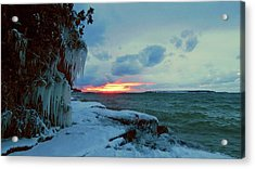 Frozen Sunset In Cape Vincent Acrylic Print