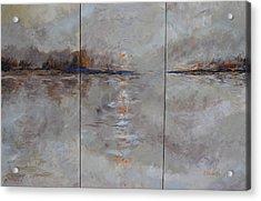 Frozern Fog Triptych Acrylic Print by Beth Maddox