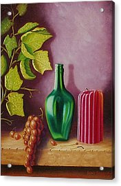 Acrylic Print featuring the painting Fruit And Candle by Gene Gregory
