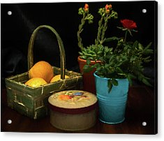 Fruit And Flowers Still Life Digital Painting Acrylic Print