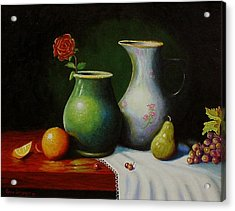 Acrylic Print featuring the painting Fruit And Pots. by Gene Gregory