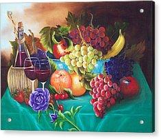 Fruit And Wine On Green Cloth Acrylic Print by Joni McPherson