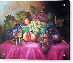 Fruit And Wine On Mauve Cloth Acrylic Print
