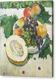 Fruit On Grape Leaves Acrylic Print by Juliya Zhukova