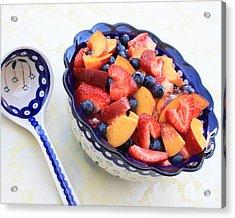 Fruit Salad With Spoon Acrylic Print by Carol Groenen