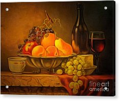 Fruit Table Buffet In Ambiance Acrylic Print by Catherine Lott
