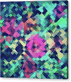 Fruity Rose   Fancy Colorful Abstraction Pattern Design  Green Pink Blue  Acrylic Print