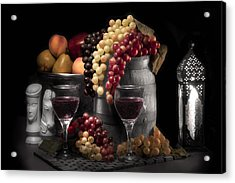 Fruity Wine Still Life Selective Coloring Acrylic Print by Tom Mc Nemar