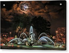 Full Moon At The Fountain Acrylic Print