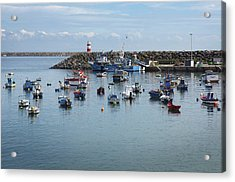 Fishing Boats In Sines Harbot, Portugal Acrylic Print by Carlos Caetano