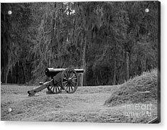 Ft. Mcallister Cannon 2 Black And White Acrylic Print