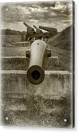 Ft Mchenry Cannons - Sepia Acrylic Print