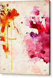Fuchsia And Orange Color Splash Acrylic Print