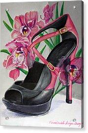 Fuchsia Orchid Colour Block Acrylic Print by Karon Melillo DeVega