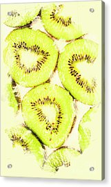 Full Frame Shot Of Fresh Kiwi Slices With Seeds Acrylic Print