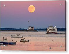Full Hunter Moon Over Rockland Breakwater Acrylic Print by Tim Sullivan