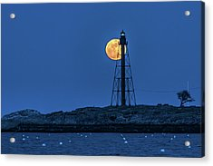 Full Moon Above Marblehead Light Acrylic Print by Jeff Folger