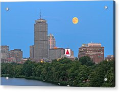 Acrylic Print featuring the photograph Full Moon Across Boston Skyline by Juergen Roth