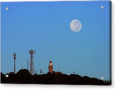 Full Moon And Lighthouse- St Lucia Acrylic Print by Chester Williams