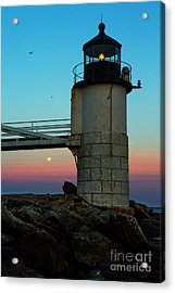 Full Moon At Marshall Point Lighthouse Acrylic Print by Diane Diederich