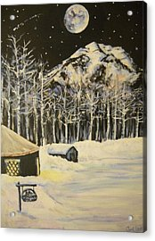Full Moon At The Sundance Nordic Center Acrylic Print