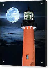 Full Moon Closeup Next To Jupiter Lighthouse In Florida Acrylic Print